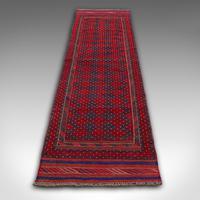 Long Antique Meshwari Runner, Persian, Wool, Kilim, Hallway, Carpet c.1900 (5 of 12)