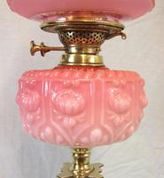 Antique Pink & Cranberry Glass Oil Lamp & Shade (6 of 12)