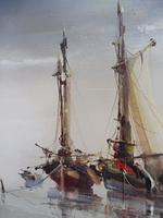 Large oil on canvas seascape listed artist Jorge Aguilar 1970's (5 of 10)