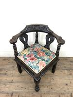 Victorian Carved Oak Corner Chair with Floral Upholstery (6 of 9)