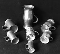 7 Antique Continental Pewter Spirit Measures (3 of 3)