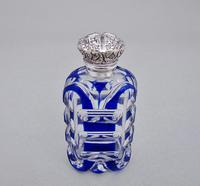 Victorian silver and Bohemian overlay Bristol blue glass scent bottle c.1890 (4 of 5)