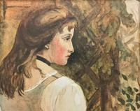 Small Watercolour Portrait Painting of a Seated Female c.1950-1960 (7 of 10)