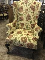 Wing Armchair Floral Material (3 of 7)