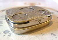 Antique Pocket Watch Chain Fob 1920s J W Benson Silver Nickel Coin Holder Fob (2 of 10)