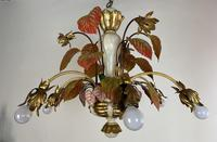 Large Florentine Ceiling Light Chandelier Toleware with Polychrome Painting (10 of 11)