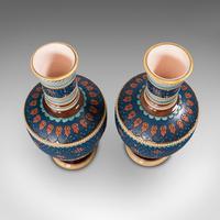 Pair of Antique Decorative Vases, German, Ceramic, Villeroy & Boch, Victorian (4 of 12)