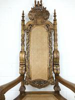 Large Carved Wooden Lion Throne Chair (9 of 10)