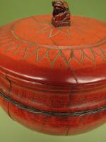 Antique Red Chinese Wooden Rice Bowl with Lid (10 of 12)