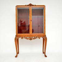 Queen Anne Style Burr Walnut Display Cabinet c.1930 (2 of 11)