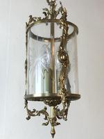 Vintage French Gilt Bronze Three Light Hall Lantern Pendant (9 of 12)