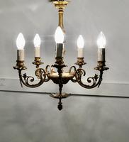 Gilded Brass 5 Branch Rococo Style Chandelier (7 of 8)