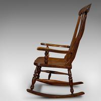 Antique Farmhouse Rocking Chair, English, Elm, Beech, Seat, Victorian c.1900 (4 of 12)