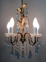 Vintage Gilt Toleware Ceiling Light Chandelier with Teal Glass Droplets (4 of 12)