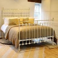 Brass & Iron Antique Bed in Cream