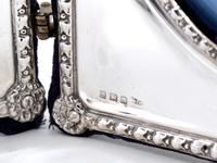 Decorative Edwardian Silver Double Folding Frame with a Floral and Bow Border (3 of 7)