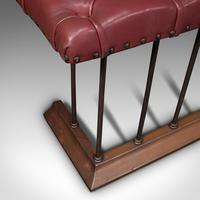 Antique Fender Seat, English, Brass, Leather, Fireside Bench, Victorian c.1880 (11 of 12)