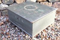 Scandinavian / Swedish 'Folk Art' original paint green/blue large table/alms/bible box raised on feet 1852 (10 of 36)