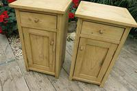 Nice Quality Old Stripped Pine Bedside Cabinets (4 of 9)