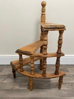 Victorian Style Light Oak Library Spiral Curved Step Ladder Stand (23 of 24)
