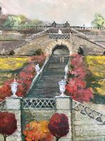 Original oil painting on board A Scottish (?) castle and formal gardens' by Barbara Lady Brassey. 1911-2010. Signed c.1980 (4 of 4)