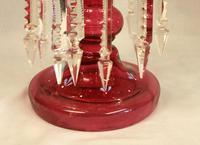 Antique Victorian Cranberry Mantle Table Lustre (8 of 8)