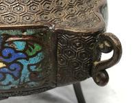 Antique 19th Century Bronze Japanese Inugami Enamel Inlaid Incense Burner Lid (3 of 12)