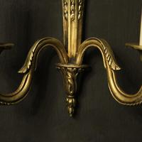 French Gilded Twin Arm Antique Wall Lights (8 of 10)