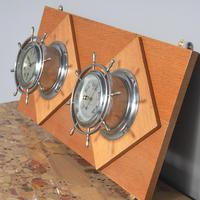 Pair of Chrome Ships Bulkhead Clock & Barometer c.1930 (3 of 4)