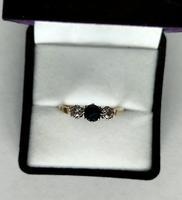 Art Deco 18ct Gold Platinum Sapphire Diamond Trilogy Ring (9 of 11)