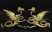 Pair of Brass Antique Dragon/Griffin Candlesticks. (3 of 5)