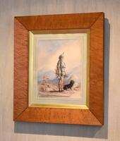 Early Victorian Watercolour of a Scottish Gillie