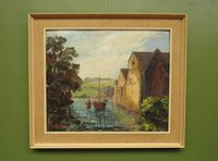 Large Framed Oil Painting of Boats at Totnes by Dorothy Bradshaw (9 of 13)