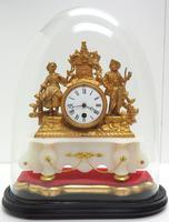 Stunning Complete French Mantel Clock Under Dome with Base Figural Mantle Clock. (8 of 10)