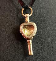 Antique Georgian Gold Heart Watch Key, Citrine & Bloodstone (6 of 9)