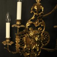 French Pair of Cherub Gilded Brass Wall Lights (6 of 10)