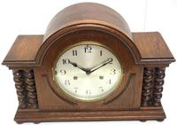 Solid Oak Hat Shaped Mantel Clock 8-day by Hac Westminster Chime (3 of 10)