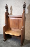 Victorian Carved Oak Gothic Church Pew (2 of 12)