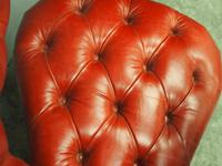 Victorian Oak & Crimson Leather Cockfighting Chair (7 of 10)