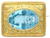 10.46ct Aquamarine & 18ct Yellow Gold Brooch - Antique c.1900