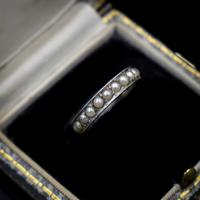 Art Deco Pearl Full Eternity Sterling Silver Band Ring (10 of 10)
