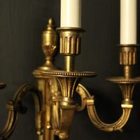 French Pair Of Gilded Triple Arm Antique Wall Lights (2 of 9)