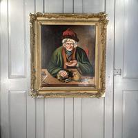Antique Georgian Oil Painting Portrait Entitled The Miser by C Hind 1823 (10 of 10)