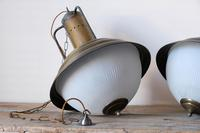 Industrial Style Hanging Lights, Brass With Holophane Glass Shades (16 of 16)