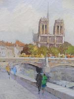 Large Oil on Canvas Notre Dame Artist L Du Bois 1960s (5 of 10)