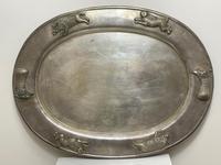 Large Danish Sporting Victorian 19th Century Danish Silver Plate Salver (28 of 31)