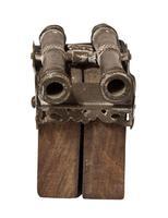 Twin Barrelled Bronze Miniature Cannon (3 of 5)