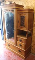 1910s Over Carved Satin Walnut Mirrored Combination Wardrobe (3 of 4)