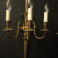 French Set of 4 Gilded Triple Arm Wall Lights (3 of 10)