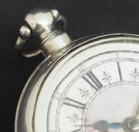 Antique Silver Pair Case Pocket Watch Fusee Verge Escapement Key Wind Galleon Ships Painting (5 of 5)